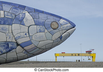 The Famous Big Fish, Belfast, Northern Ireland - The iconic...