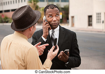 Unable to Make a Call - Caucasian and African-American...