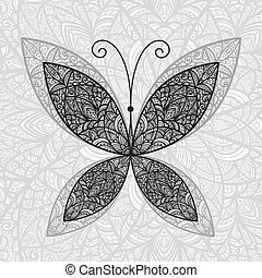 vector hand drawnabstract buttefly on floral background