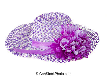 Women purple hat with a flower. Isolated on white.