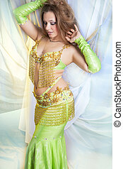 sexy shaped belly dancer - caucasian belly-dancer performing...