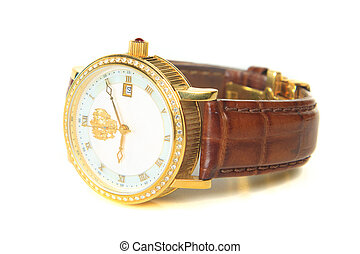 Mens wristwatch in isolation, the white background