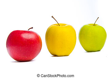 Three apples. Studio shot. Isolated on white.