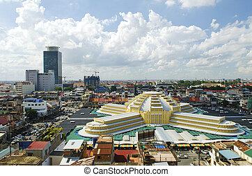 psar, thmei, centraal, markt, Phnom, penh, Cambodja