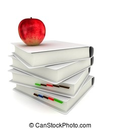 3d books with red  apple back to school