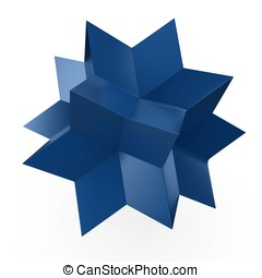 3d blue abstract star shape isolated on white background