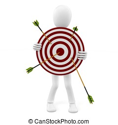 3d man with target and arrows