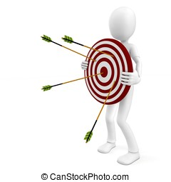 3d man with target and arrows isolated on white