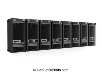 3d row of server racks isolated on white