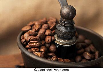 manual, café, amoladora