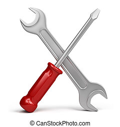 wrench and screwdriver. 3d image. Isolated white background.