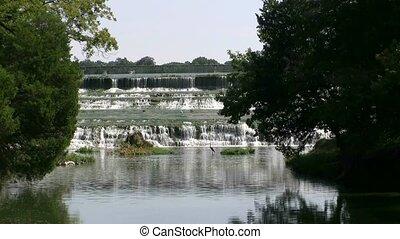 White Rock Waterfall - Waterfall at White Rock Lake in...