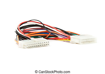 Computer inside power cable. It is isolated on a white...