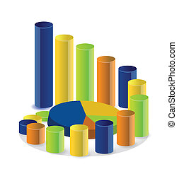 business graph and pie chart illustration
