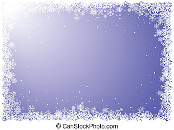 Frame from snowflakes on blue background