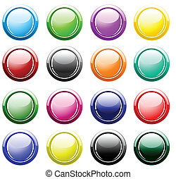 Glossy buttons isolated on white