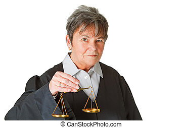 Balance - Female lawyer with scale balance - isolated on...