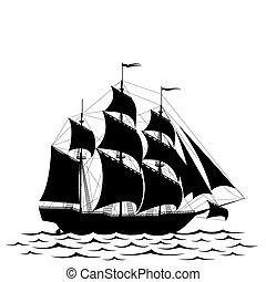 Black ship - Black old ship and waves isolated on white