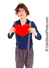 Goffy man holding heart