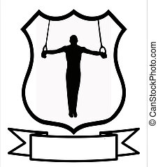 Male Gymnastics Sport Shield - Male Gymnastics Sport Emblem...