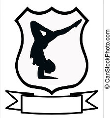 mulher, ginástica, desporto, escudo