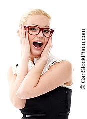 Lady in glasses - Young lady in glasses on white background