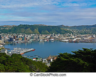 Wellington Harbor, New Zealand - View over Lambton Harbour...