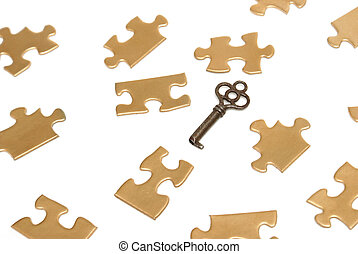 Puzzling Solutions - A conceptual image of golden puzzle...