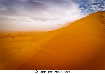 Wind storm in the Sahara Desert - Sahara, Morocco: Wind...