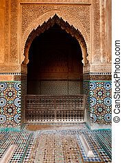 Detail ornate alcove in mosque - Marrakesh, Morocco: Detail...
