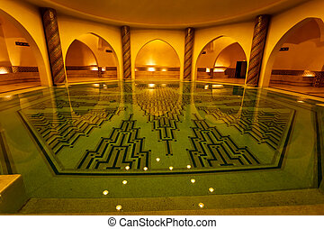 Bathing pool inside of Hammam turkish bath - Casablanca,...