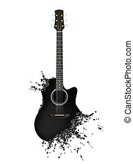 Electric Guitar - Liquid Guitar with Notes Isolated on White...