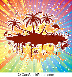 Summer frame with palm tree, dolphin, crab, on colorful...