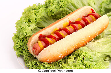 hot dog with sausage,bread,ketchup and mustard over lettuce...
