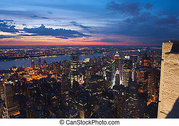 View on New York and New Jersey after sunset
