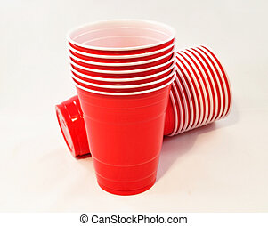 plastic cups - red plastic cups on white background