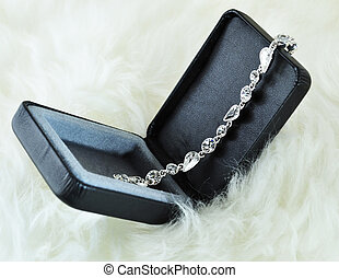bracelet - a crystal silver  bracelet in a black box