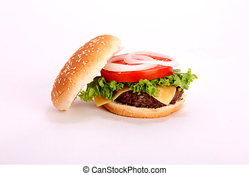 open hamburger with...