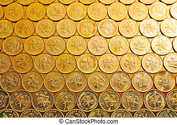 gold coins , Hong Kong currency $05 coins