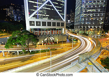 traffic downtown at night