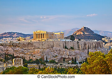 Acropolis at sunset - View on Acropolis at sunset, Athens,...