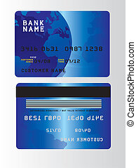 credit cards - blue plastic credit cards over gray...