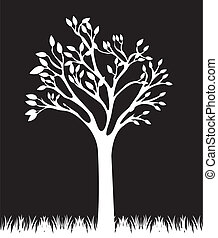 black and white tree - white tree and grass over black...