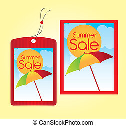 summer sale labels - red summer sale labels over orange...