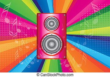pink stereo with notes musicals over colorful background...