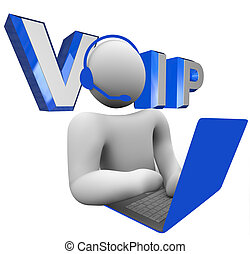 VOIP Person Talking on Computer Voice Over Internet Protocol...
