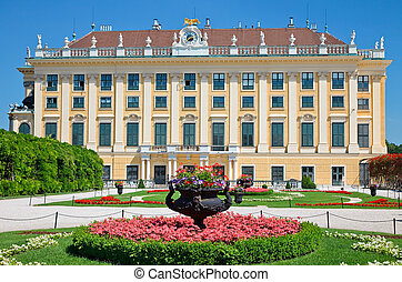 Park in Schonbrunn, Vienna - Flower bed infront of...