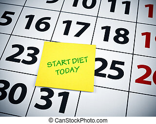 Start diet today written on a sticky note on a calendar.
