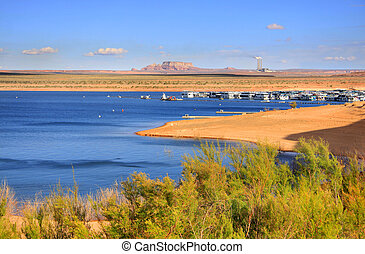 Lake Powell - Scenic landscape of Lake Powell near Page...