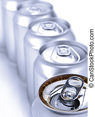Silver soda cans - Close up view of a row of soda cans....
